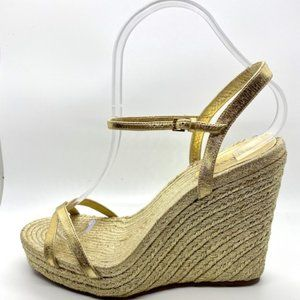 "Gucci ""LIA"" metallic gold espadrille wedges"